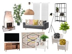 Living room by zsofia13 on Polyvore featuring interior, interiors, interior design, home, home decor, interior decorating, Alphason, Sauder, NDI and Nearly Natural