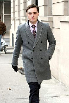 Ed Westwick looking dapper in a trench.