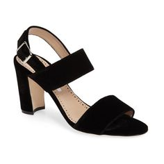 Women's Manolo Blahnik Khansf Slingback Sandal (4.875 DKK) ❤ liked on Polyvore featuring shoes, sandals, black velvet, manolo blahnik slingback, slingback shoes, sling back sandals, black shoes and velvet shoes