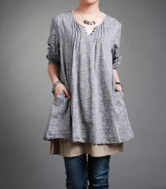 lovely print small floral pullover long sleeves dress by MaLieb