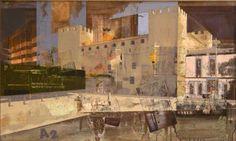 """Urbana Rustica IV - Castell d'Alaquas Collage + Acrílico  60 X 100 cm.  2010. Seleccionado en: XXV Concurso """"Villa de Almazán"""" Soria. 2010. XXXIX Concurso Pintura Alcalá de Guadaira Sevilla 2011. XIV Concurso Pintura FUVAMA Valencia 2012."""
