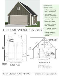 Economy 2 Car Garage With Attic Plan E480-3 By Behm Design