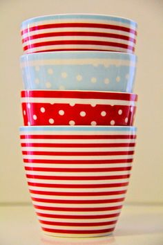 HAPPY red and white polka dots, stripes and blue stacking bowls