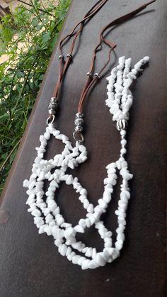 Estilo de Ser***    Snow quartz gravel tassel necklace Colar cascalho www.estilo-de-ser.com