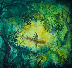 Kajak | Anna Chmiel #tree #watercplor #painting #annachmil #japan #art #abstract #landscape #watercolor #painting #anna_chmiel #malarstwo #krakow #hanami #danielsmith #danielsmithwatercolors