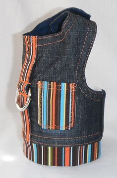 Denim striped dog harness - Size XXS, XS, S, M (Made to order) by chiwawagearharnesses on Etsy