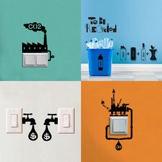 Apply fun Wall Decals to your power switches for a friendly reminder to save energy! Wall Decals from eSigns.com are easy to apply and remove! Design your own or choose from our free clipart and full color photos!