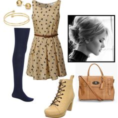 Beige and Black Sleeveless Dress with Navy Blue Tights and Accessories