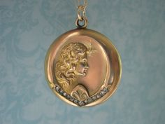 RESERVED Antique Rose Gold Locket Art Nouveau by SweetheartLane, $142.00
