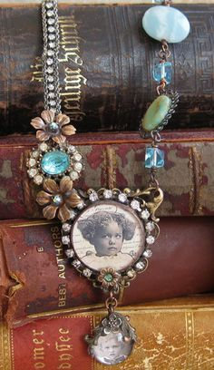 soldered pendant, altered necklace I made with vintage and new bling