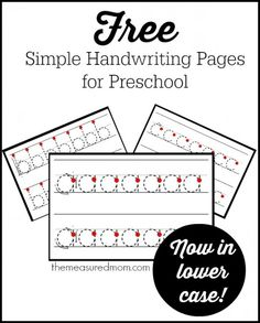 Free handwriting pages - in lowercase! Great for kids just starting to learn to write on the lines.