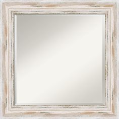 Alexandria Whitewash Framed Square Mirror | Overstock.com Shopping - Big Discounts on Mirrors
