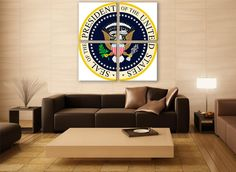 Presidne Of USA Crest Canvas Print 3 Panels Print Art Wall Deco Fine Art America Photography Repro Print for Home and Office Wall Decoration by ZellartCo TAGS united states usa america crest wall art official crest canvas art lage print office wall art federal wall decor washington milty panel canvas
