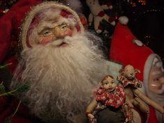 Handmade Santa Claus~Doll & Teddy Bear By Kim Sweet~Kim's Klaus 2015~OoAk Vintage Antique Christmas Folk Art Doll