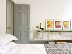Painted Interior Doors, I wonder if this would still work since I have oak trim and not white. Grey Internal Doors, Grey Doors, Painted Interior Doors, Painted Doors, Nordic Interior, Gray Interior, Bedroom Doors, Master Bedroom, White Bedroom