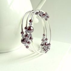 Pearl Wrap Bracelet Memory Wire Purple Pearl Swarovski Elements Bangle