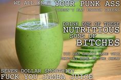 HILARIOUS site with awesome nutrition info and recipe suggestions.  This smoothie sounds bommmmb