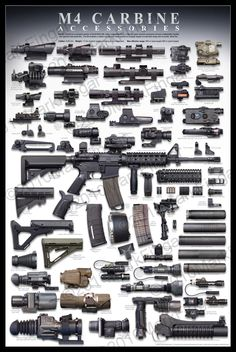 Great M4 / AR15 Infographic showing a lot of the types of accessories available for this weapon platform. #GunSources  http://GunSources.com