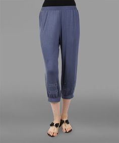 This Steel Blue Embellished Capri Pants - Plus is perfect! #zulilyfinds