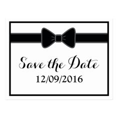 Gay Mr and Mr Classic Bow Tie Wedding Save the Date Postcard