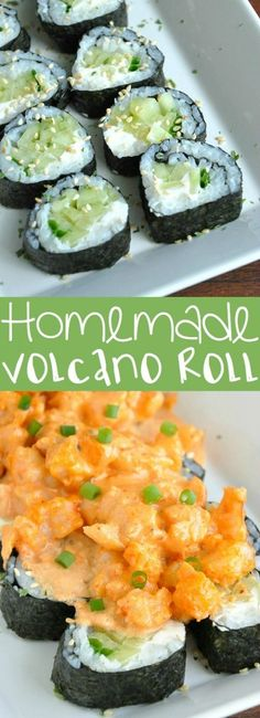 Whip up this delicious sushi restaurant copycat at home! The spicy sriracha shrimp and cool cucumber in this Homemade Volcano Roll are a match made in heaven. Let's make some sushi rolls! Sushi Restaurants, Healthy Diet Recipes, Cooking Recipes, Homemade Volcano, Seafood Recipes, Dinner Recipes, Dinner Ideas, Chicken Recipes, Sushi Party