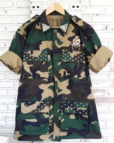 69e59ad82d1f Spring Camo Jacket   Hand Reworked Studded Camo Jacket   Military  Camouflage Jacket with Studded Size  L