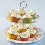Mary Berry's lemon cupcakes, add spoonful of lemon curd into the middle of the mixture before baking, yum.