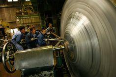 Metal Spinning Tools | Workmen applying the hera-shibori technique to make a parabolic ...