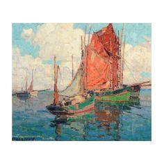 Tuna Boats (Oil on Canvas), by Edgar Payne Oil On Canvas, Canvas Prints, Framed Prints, Tuna Boat, Edgar Payne, Master Studies, Sail Boats, Western Art, Wood Print