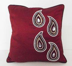 red paisley beaded cushion cover in size 16x16 by #Tatvakala #Hiomrme Decor #indiafabric #bedddingizaArt