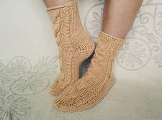 Woman wool socks   wool rustic socks  hand knit grey socks  socks with cool plait  cozy christmas present
