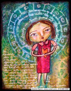 Jessica Sporn Designs: Bravely Offer Your Heart. Art Journal page using StencilGirl stencils.