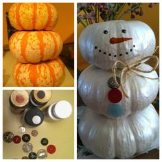 Leftover harvest time pumpkins turned snowman. Decoration! DIY Holiday craft #DIY #holiday #craft #snowman