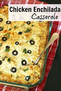 Used leftover turkey; sour cream and cottage cheese. Nice kick and yummy. Spice up your evening with this hot and cheesy Chicken Enchilada Casserole. You can whip it up in a flash -- and make an extra to freeze. Cheesy Chicken Enchiladas, Chicken Enchilada Casserole, Potatoe Casserole Recipes, Casserole Dishes, Cheese Enchiladas, Hamburger Casserole, Zuchinni Casserole, Runza Casserole, Cheap Casserole Recipes