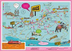 Map of the Crags in Plettenberg Bay Garden Route South Africa Tourist Map, South Africa, Tourism, Places To Visit, Activities, Garden, Spaces, Image, Garten