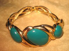 Monet Bracelet Gold Tone with Green Stones by DivineMissMDesigns