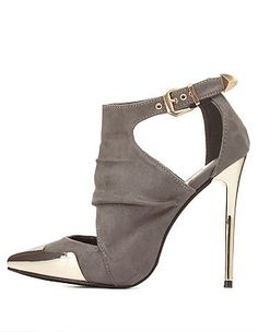Gold-Tipped Cut-Out Pointed Toe Heels: Charlotte Russe