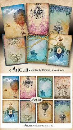 Printable Jewelry Holders ANTIQUE STYLE TAGS Digital Collage Sheet 2.5x3.5 inch size downloadable vintage ephemera paper greeting cards