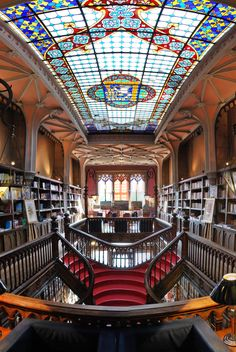 "Bookstore ""Livraria Lello & Irmão"" (or Livraria Chardron), Porto, Portugal. Established 1869."