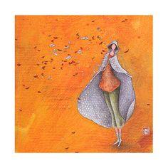 """Gaëlle Boissonnard square card 14 x 14 cm """"Coeurs d'automne"""""""