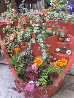 Fall planting of Eco Personal Garden Terra Cotta Broken Pot- Photo and design by Olivia's Garden in the Chicago area
