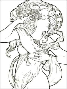 let's do like mucha by thoxxic Fairy Coloring Pages, Printable Coloring Pages, Adult Coloring Pages, Coloring Books, Coloring Stuff, Colorful Drawings, Colorful Pictures, Rendering Art, Art Nouveau Design