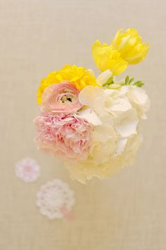Small bouquet or centerpiece: yellow freesia, blush peony, yellow tulip, white hydrangea and pink ranunculus