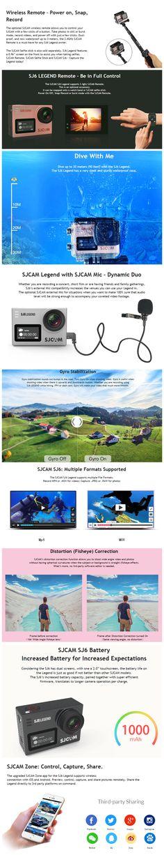 Original SJCAM SJ6 LEGEND 4K interpolated WiFi Action Camera Novatek NTK96660 2.0 inch LTPS Sale - Banggood.com  #auto #moto #car #accessories