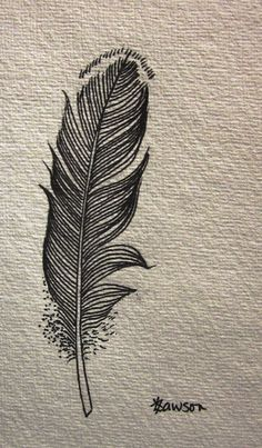 This original, hand-drawn, ink feather captures the strength and shape of the original feather. I love the curve of the spine and the slight tangle of