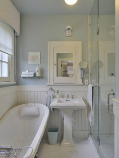 White Beadboard bathroom - Cottage - bathroom - Benjamin Moore Gossamer Blue Love this blue. Maybe for main bath upstairs? Cottage Bathroom Design Ideas, Cottage Style Bathrooms, Eclectic Bathroom, Cottage Design, Bathroom Styling, Bathroom Ideas, Cozy Bathroom, Bathroom Renovations, Bathroom Mirrors