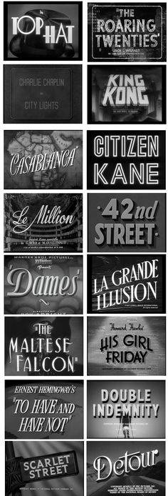 Today, I am inspired by film titles of the 1920s and 30s. Although these titles were restricted to black and white, the typography speaks for itself.