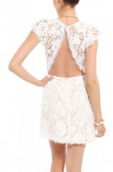 Open Back Lace Cap Sleeve Dress in White