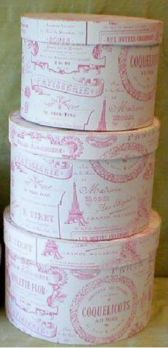 Fabric Covered Hat Boxes, Paris Tea Panel,Pink/Cream