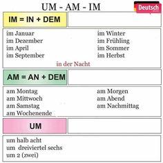 um, am, im Study German, German English, Learn German, German Grammar, German Words, Deutsch Language, Germany Language, German Translation, Bible Mapping